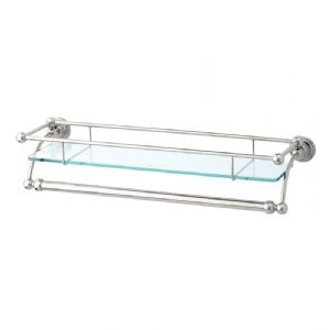 "6975 Perrin & Rowe 510mm (20"") Glass Shelf with Towel Rail"